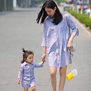 Combo đầm đôi sơ mi cho mẹ và bé gái
