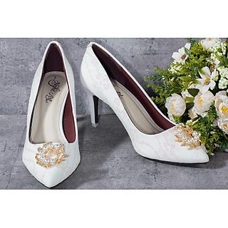 Giày cưới nữ Nghé Art cao gót lưới đính vòng hoa 192