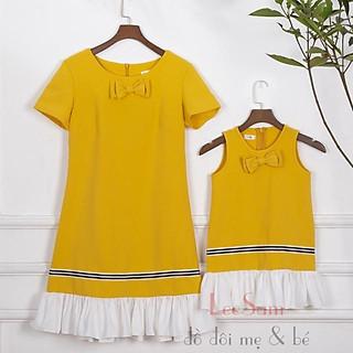 Váy đôi vàng phối trắng mẹ và bé