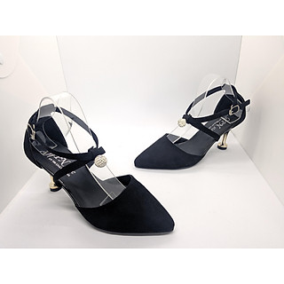 Giày Nữ, Giày Cao Gót Nữ/ Sandal Cao Gót Nữ  Màu Đen Da Nhung Mềm Mịn  Hạt Cườm Đẹp Bít Mũi Phối Dây Quai Chéo Nhỏ, Đế Nhọn Cao 8 Phân, 8 Cm Phong Cách Hàn Quốc CGPN0095-YN142