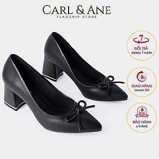 Giày cao gót Erosska thời trang nữ bít mũi phối nơ dễ thương gót vuông cao 5cm CP005