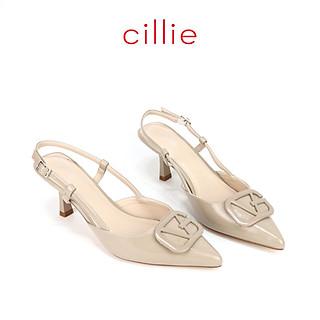 Giày cao gót nữ mũi nhọn phối khóa 7cm Cillie 1228