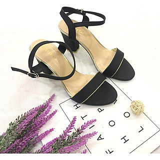 Sandal nữ quai ngang viền nhũ đế 7cm hàng VNXK cao cấp S71