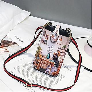 Túi đeo chéo nữ để điện thoại TCHE1 phong cách trẻ trung, năng động tặng kèm 2 nút bảo vệ đầu sạc điện thoại