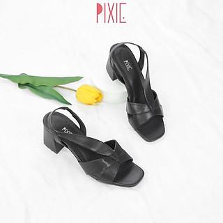 Sandal Cao Gót 5cm Mũi Vuông Quai Chun Pixie X541