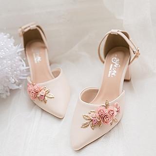 Giày cưới Nghé Art hồng cụm hoa hồng 272
