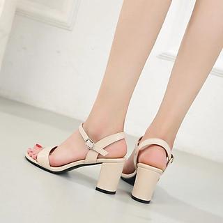 Giày cao gót nữ gót vuông 5cm quai ngang