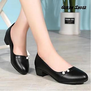 giày công sở nữ cao cấp chất da lỳ siêu mềm đế 4 phân