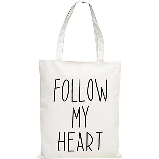"Túi Tote Vải Canvas In Chữ "" Follow My Heart "" T026-H"