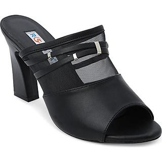 Giày Cao Gót Lưới Hở Mũi Rosata RO116 - Đen