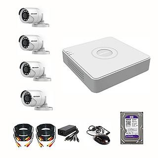 Bộ Camera HIKVISON 2MPX - FHD1080P Chính hãng - Đầy đủ Phụ Kiện Lắp Đặt (Kèm Ổ cứng 500GB)