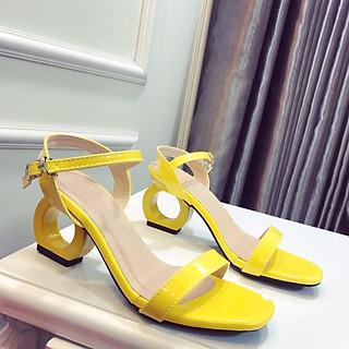 Giày Sandal Nữ Đẹp / Cao Gót Hở Mũi Da Bóng Đế O Tròn 5 Phân Êm Chân Phong Cách Hàn Quốc CTS-CG