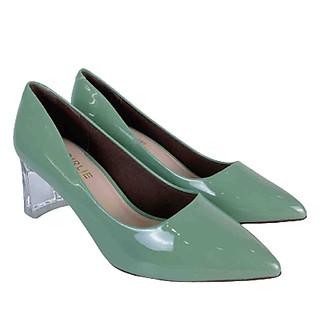 Giày cao gót nữ 7 phân đế vuông GIRLIE S36410 da bóng. Gót cách điệu thời trang 2020-2021