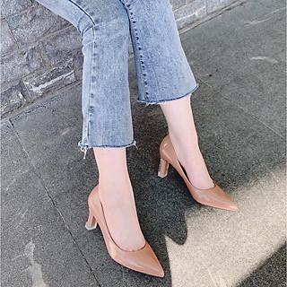 Giày búp bê nữ thời trang da bóng gót nhọn, giày cao gót nữ mũi nhọn gót mica cao 7p màu nâu