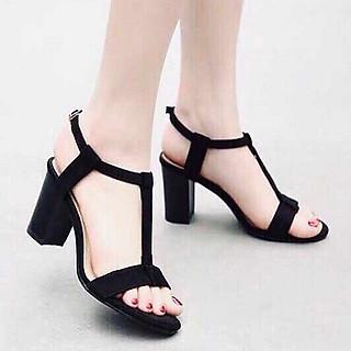 Giày nữ, giày cao gót nữ thời trang nữ da nhung mềm mịn cao 7 cm thiết kế dây dọc đơn giản mà tinh tế, quai cài ngang YNCG66