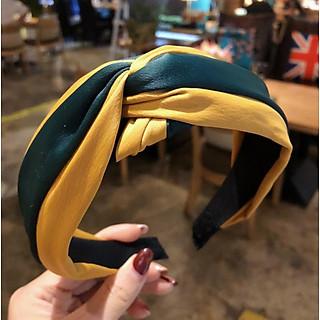 Bờm tóc nữ bản to mẫu mới bản đẹp phối 2 mầu vải lụa cao cấp