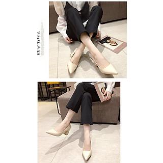 Giày cao gót nữ phong cách Hàn Quốc gót vuông 7cm Y16
