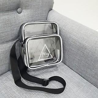 Túi đeo chéo nam nữ nhựa trong suốt viền gân trắng phản quang dây đeo bản lớn 3cm NEW TREND 2020