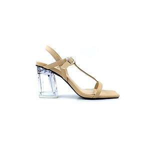 Giày Sandal Nữ- SanDal Quai Ngang Gót Mica Trong Suốt Thời Trang Sang Chảnh Siêu Xinh cao 9cm PN11031