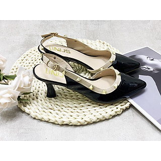 Giày cao gót nữ hở gót cách điệu viền đinh tán cao cấp - Giày nữ gót cao 5cm - Linus LN109