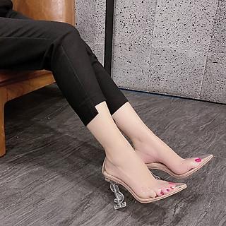 Giày Cao Gót  Chữ S Chất Mika Trong Suốt Sang Chảnh Kèm Miếng Lót Mũi Giày