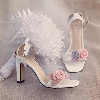 Giày cưới Nghé Art sandal hoa hồng gót 9 phân 239