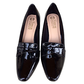 Giày cao gót 7cm Trường Hải gót to da bóng màu đen thời trang cao cấp CG01280
