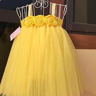 Váy tutu cho bé ️Váy tutu hoa cuốn vàng cho bé gái siêu đẹp