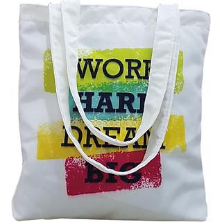 Túi vải tote đeo vai, túi tote vải canvas, túi tote nữ work hard dream bigTROY TCV2-M2