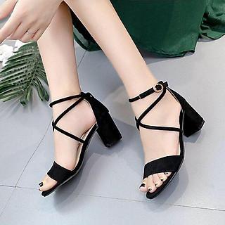 Giày / Sandal Cao Gót Nữ Da Lộn Phối Chéo Bản Nhỏ 7P -YUUNA011