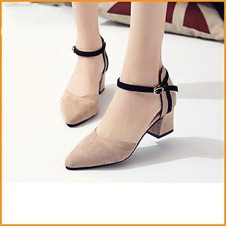 Giày cao gót nữ đế vuông 7 phân mũi nhọn da lộn bít gót basic thời trang công sở TẶNG 1 cặp lót gót giày khử mùi êm chân