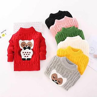 Len vặn thừng hình gấu - áo len size nhỡ cho bé từ 15 đến 28kg