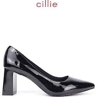 Giày cao gót nữ Cillie mũi nhọn da bóng gót vuông cao 7cm 1203