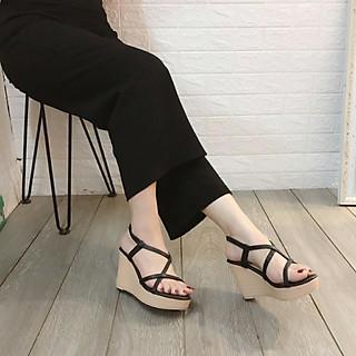 Giày Đế Xuồng Sandal Cao Gót Nữ Đẹp Siêu Nhẹ Cao 9P Phối Chéo Dây Êm Chân CTS-CG (Hình Thật)