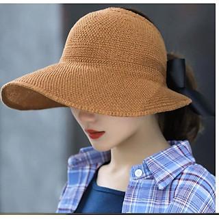 Mũ rộng vành chống nắng gắn nơ thời trang Nón chống nắng nửa đầu cho nữ