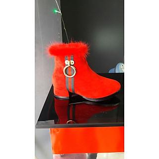 Giày Boost Nữ Da Lộn Cổ Đính Lông Đỏ  - BDLN