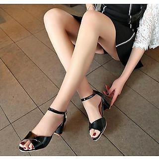 Giày Sandal Nữ Đẹp / Cao Gót Hở Mũi Da Mềm Đế Vuông 5 Phân Êm Chân Kiểu Dáng Đơn Giản CTS-CG