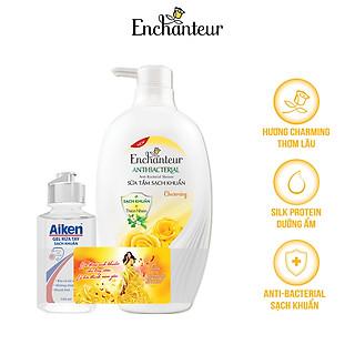 Sữa tắm sạch khuẩn từ thiên nhiên Enchanteur Charming Anti-Bacterial 650gr - Tặng gel rửa tay Aiken 100ml