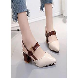 Giày gót vuông khóa kiểu cao cấp hàng nhập - CG2051