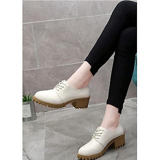 Giày boot nữ oxford màu trắng TRẺ TRUNG GBN2802