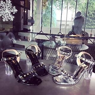 Sandal nữ quai trong đính đinh đế 7cm thời trang cao cấp S74