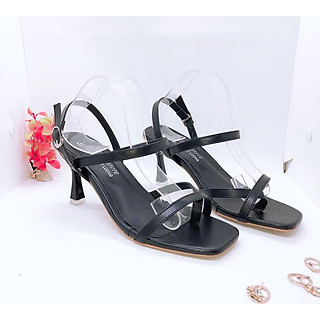 Giày Sandal Nữ Đẹp / Cao Gót Xỏ Ngón Đế 7 Phân Dây Chéo Mảnh Êm Chân Phong Cách Hàn Quốc CTS-CG (Chụp Thật)