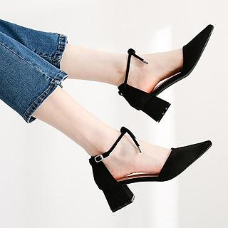 Giày cao gót nữ đẹp 7 phân công sở gót vuông bít đầu dây chuông