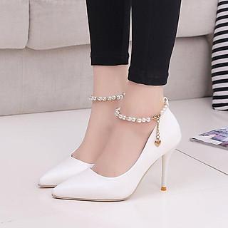 Giày cao gót nữ đẹp 7 phân công sở gót nhọn vòng cổ chuỗi