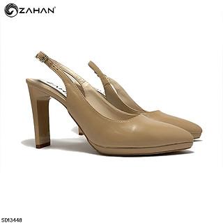 Sandal bít mũi, hở gót bóng nhăn 9 cm SD13448