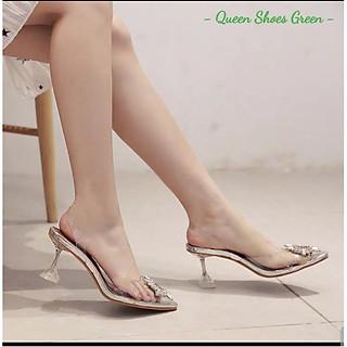 Giày cao gót nữ quai trong - Dép, guốc cao gót 9 phân hở mũi, đính nơ mặt trời gắn đá kim cương size 35 đến 39
