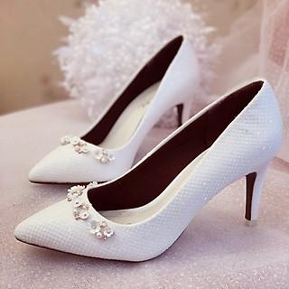 Giày cưới Nghé Art cao gót bọc ren lưới kim tuyến nhũ 7 màu 244
