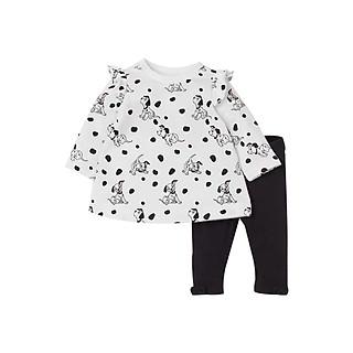 Bộ đồ thun cotton dài tay cho bé gái tay cánh tiên họa tiết chó chấm bi, quần nơ chân cực dễ thương 2-7T
