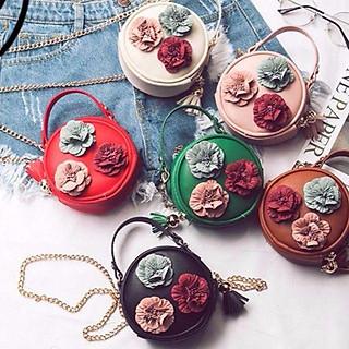 Túi hoa trà mini, túi đeo chéo thời trang đính hoa trà nhỏ bằng lòng bàn tay