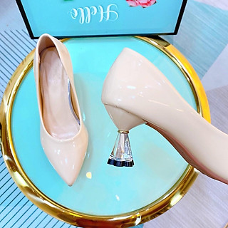 Giày cao gót nữ kiểu basic da bóng, giày búp bê mũi nhon thời trang cao 5p form chuẩn màu đen